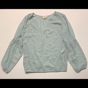 Loft Wrap Mint Long Sleeve Blouse